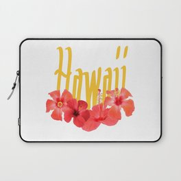 Hawaii Text With Aloha Hibiscus Garland Laptop Sleeve