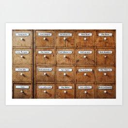 Pharmacy storage Art Print