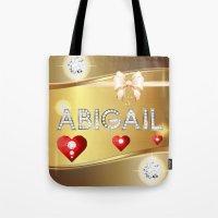 abigail larson Tote Bags featuring Abigail 01 by Daftblue