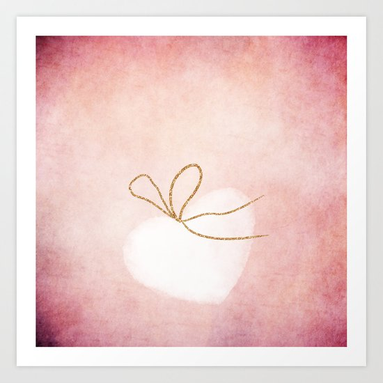 LOVE in pink - Watercolor heart with gold bow on pink backround Art Print
