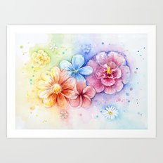 Flowers Rainbow Watercolor Art Print