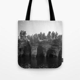 Sea caves-black and white  Tote Bag