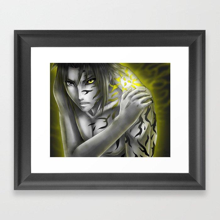 sasuke uchiha curse mark framed art print by singsei society6
