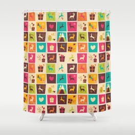 Christmas square pattern 02 Shower Curtain
