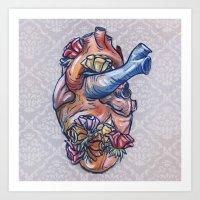 valentine Art Prints featuring Valentine by Manfish Inc.