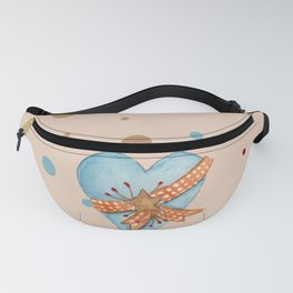 Country Heart And Polka Dots Watercolor Fanny Pack