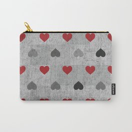 Red and Gray Graphite Hearts Carry-All Pouch