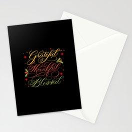 Grateful, Thankful, Blessed Design on Black Stationery Cards