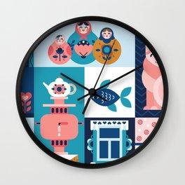 Modern Russian Folk Art Wall Clock