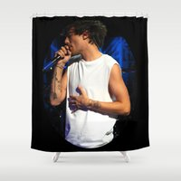 louis tomlinson Shower Curtains featuring Tummy Tomlinson by clevernessofyou