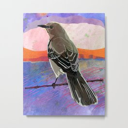 Mockingbird on a Wire Fence In The Sunset Watercolor Art Metal Print