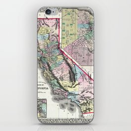 1872 Map of California and San Francisco iPhone Skin