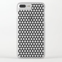 Black and white honeycomb pattern Clear iPhone Case