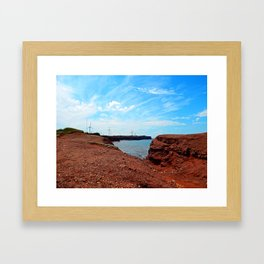 Cliffside Wind Turbines Framed Art Print