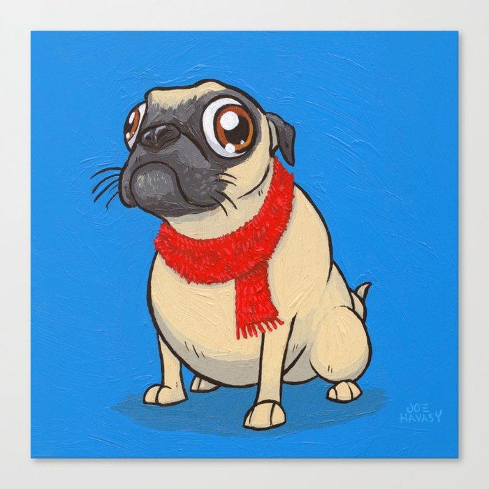 Pug with a scarf Canvas Print