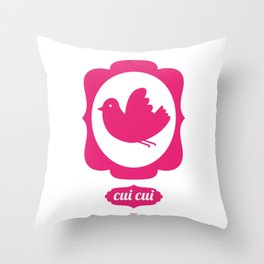 pink bird Throw Pillow
