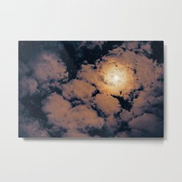 Full moon through purple clouds Metal Print