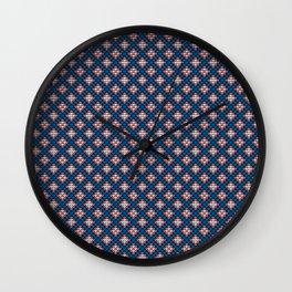Grandma's pattern #12. Blue Grid Wall Clock