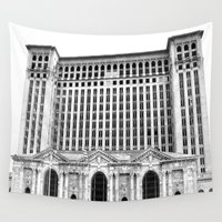 michigan Wall Tapestries featuring MICHIGAN CENTRAL STATION by Teresa Chipperfield Studios