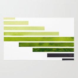 Sap Green Midcentury Modern Minimalist Staggered Stripes Rectangle Geometric Pattern Watercolor Art Rug