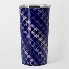 Blue Swirly Pattern with Creases Travel Mug