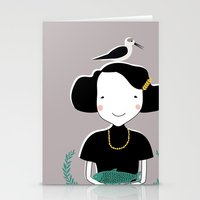 abigail larson Stationery Cards featuring Abigail by June Keser