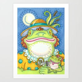 LILITH AND YOUNG Mother Frog And Baby Art Print