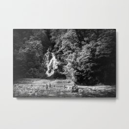 Fantail Falls view in black and white in New Zealand Metal Print