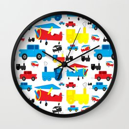 Cute Colorful Planes, Trains and Cars Pattern Wall Clock