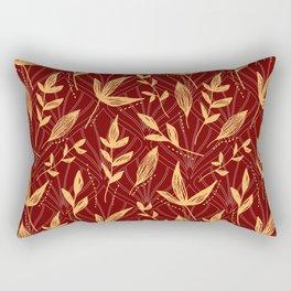 Orange Gold Red Leaves Pattern Rectangular Pillow