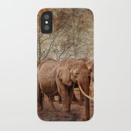 Elephants family on a walk iPhone Case