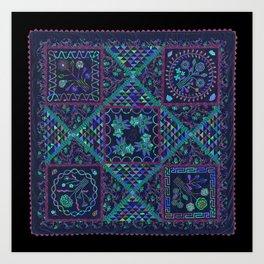 Auntie Green's Coverlet Quilt Art Print