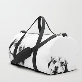 Dog peeking Black & White Duffle Bag