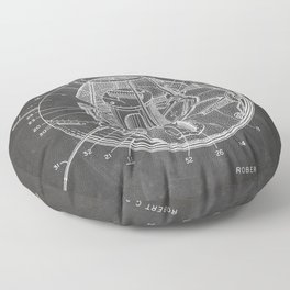 Space Satellite Patent - Outer Space Art - Black Chalkboard Floor Pillow