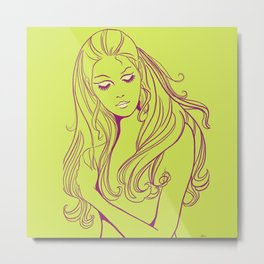 Psychedelic Lady Dream In Green Metal Print