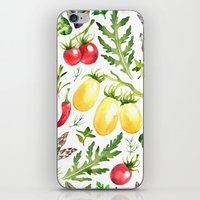 vegetables iPhone & iPod Skins featuring Watercolor vegetables by Achtung