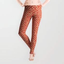 Orange Auspicious Sayagata Japanese Kimono Pattern Leggings