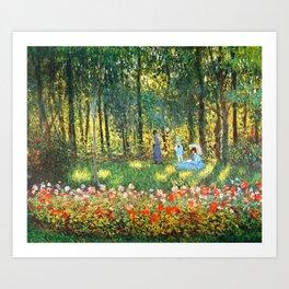 Claude Monet The Artist's Family In The Garden Art Print