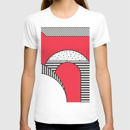 Minimal Design of a city in Red and Black and White T-shirt