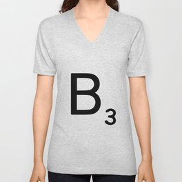 Letter B - Custom Scrabble Letter Wall Art - Scrabble B Unisex V-Neck