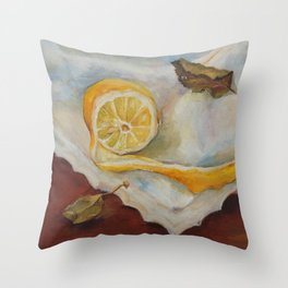 Still life with Lemon Oil painting on canvas Yellow Cirtus Fruit Home decor Throw Pillow