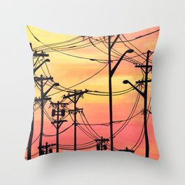 Industry poles sunset Throw Pillow
