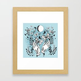 Full Moon Magic Of Nature With Blackbirds And Butterflies Framed Art Print