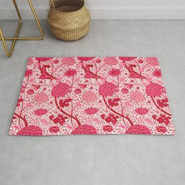 William Morris Jacobean Floral, Coral Pink and Fuchsia Rug