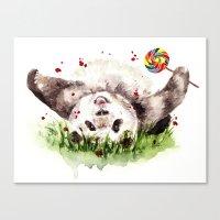 panda Canvas Prints featuring Panda by Anna Shell