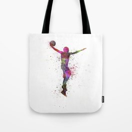 young man basketball player dunking Tote Bag
