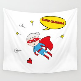 Flying Super Grandma Wall Tapestry