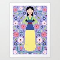 mulan Art Prints featuring Mulan by Carly Watts