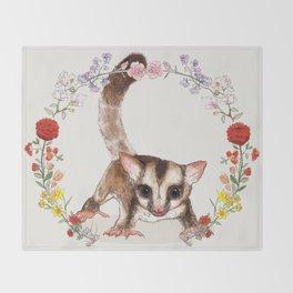 Sugar Glider in Flower Wreath Throw Blanket