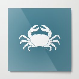 Crab Teal Background Metal Print